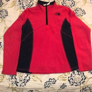 North Face girls fleece pink and navy pullover
